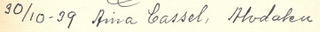 Aina Cassel signed Inga's red guestbook 1939.